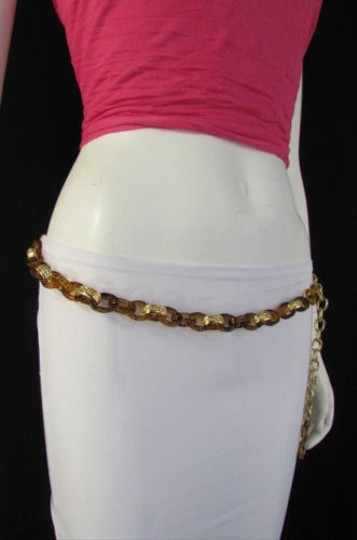 Other Women Chunky Brown Thick Gold Chains Fashion Belt Low Hip High Waist