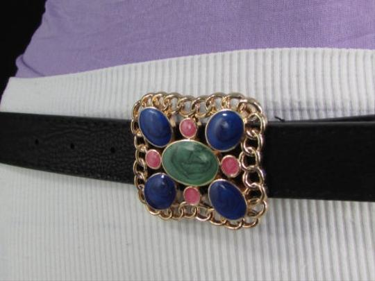 Other N. Women Narrow Black Faux Leather Fashion Belt Gold Chain Metal Buckle