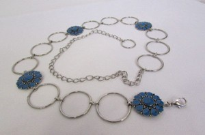Other Women Silver Metal Chains Blue Flowers Fashion Belt Hip Waist 26-37