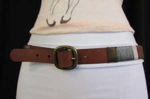Women Thin Brown Genuine Leather Fashion Belt Multicolors 32-36