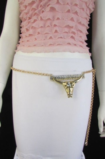 Other Women Western Bull Head Gold Metal Thin Chains Fashion Belt 25-40