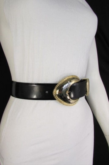 Other Women Black Green Sides Faux Leather Fashion Belt Gold Buckle 27-31