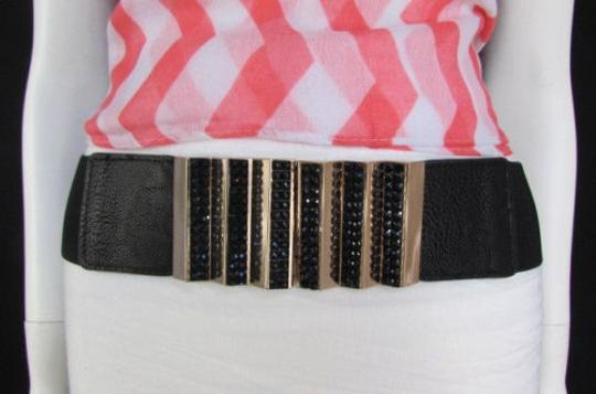 Other Women Black Rhinestone Elastic Fashion Belt Gold Stairs Hip Waist 27-33