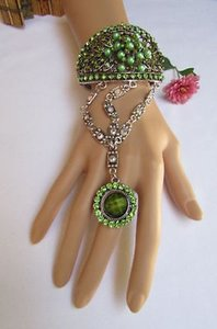Women Bracelet Silver Metal Cuff Big Flower Slave Ring Green Rhinestones