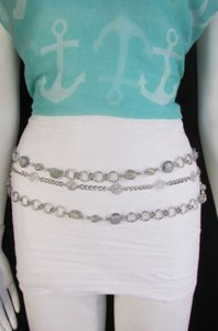 Other Women Big Beads Thick Silver Metal Chains Fashion Belt Hip 20-40
