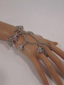 Other Women Silver Metal Hand Chains Fashion Bracelet Slave Spider Net Ring Rhinestone