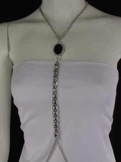 Other Women Silver Metal Body Chain Necklace Big Black Bead