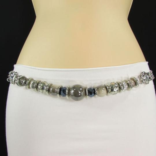 Other Women Hip Waist Silver Metal Balls Chain Fashion Belt Ivory Beads Ring