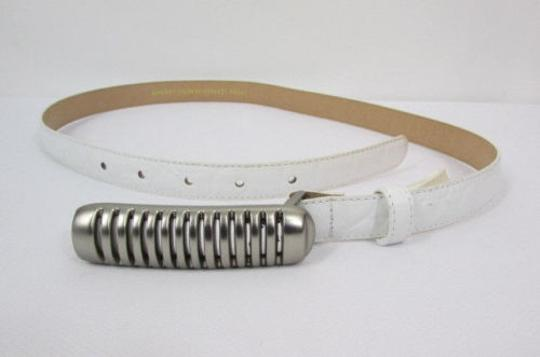 Other Women White Leather Thin Fashion Belt Hip Waist Silver Metal Buckle Sm Ml