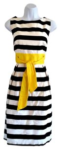 AB Studio short dress Striped Stripes Belted Yellow on Tradesy