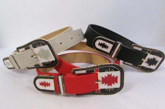 Other Women Black Red White Faux Leather Fashion Belt Big Metal Buckle 29-37