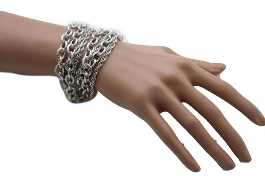Other Women Silver Metal Chain Links Bracelet Fashion Jewelry Strands Thick Thin