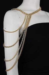 Other Women Gold Metal Shoulders Elegant Body Chain Necklace Fashion Jewelry