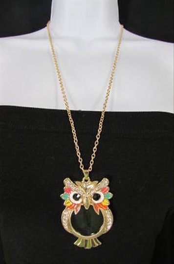 Other Long Fashion Necklace Gold Chains Multicolor Owl Magnifying Glass Pendant