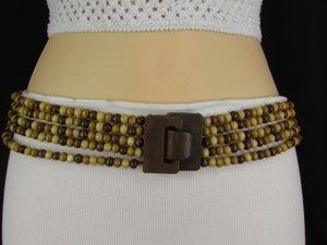 Other Women Hip Waist Brown Beige Wood Beads Elastic Fashion Belt 31-40