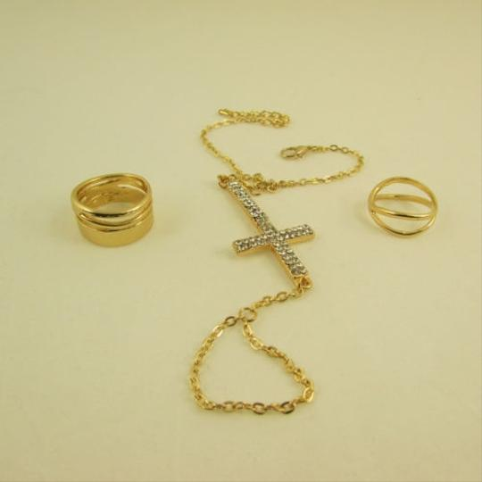 Other Women Gold Metal Chains Big Cross Fashion Slave Bracelet Hand Chain Ring