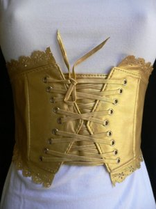 Women Elastic Gold Wide Corset Waist Flowers Tie Belt S- M-