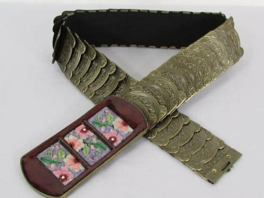 Other Women Hip Waist Gold Elastic Metal Fashion Belt Painted Flowes Buckles