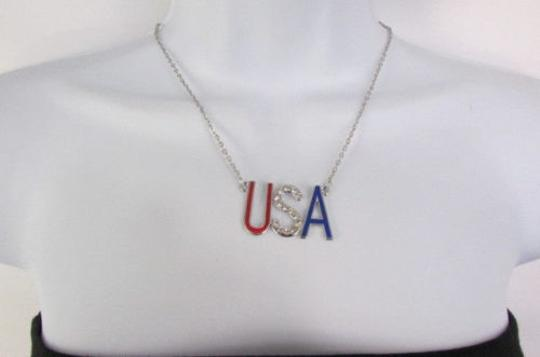 Preload https://item1.tradesy.com/images/women-silver-metal-chains-big-usa-pendant-fashion-necklace-rhinestones-1932155-0-0.jpg?width=440&height=440