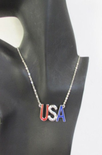 Other Women Silver Metal Chains Big U.s.a Pendant Fashion Necklace Rhinestones