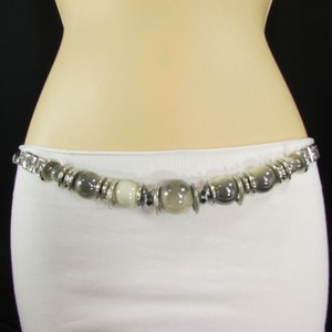 Other Women Hip High Waist Silver Metal Chain Fashion Belt Beige Cream Beads
