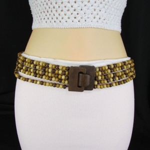 Other Women Belt Hip Waist Brown Beige Wood Beads Elastic Fashion Plus