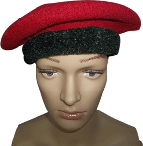 Boutique by Kate of Canada Boutique by Kate of Canada, Red Wool Beret w/ Black Band