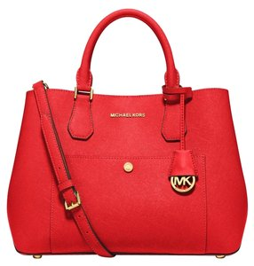 Michael Kors Greenwich Leather Tote in Mandarin