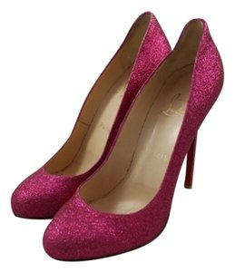 Christian Louboutin Lady Lynch Glitter Round Toe Sparkle Fuschia Pumps