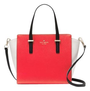Kate Spade Leather Hayden Black Red White Satchel in Cherry Liqueur/Ballerina/Black