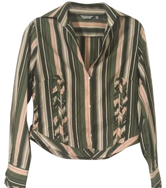 Item - Green and Beige Blouse Size 8 (M)