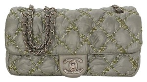 Chanel Quilted Front Flap Nylon Shoulder Bag