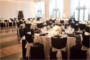 Black and White Chair Covers & Sashes Ceremony Decoration