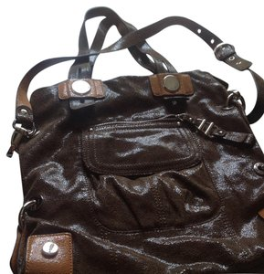 B. Makowsky Purse Tote in Brownish green with beige trimmings