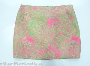 MILLY Pink Green Floral Mini Skirt Multi-Color
