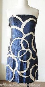 Naeem Khan Navy Cream Sequin Strapless Silk Party Ml Dress