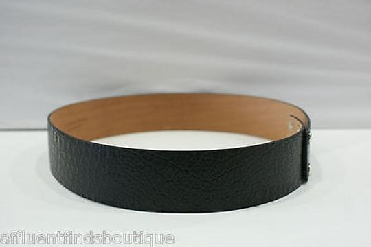 Michael Kors Michael Kors Black Embossed Leather Snap Closure Wide Belt