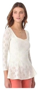 Free People Stretchy Peplum Floral Knit Top Ivory
