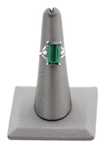 Estate Platinum Diamonds Green Tourmaline Ring