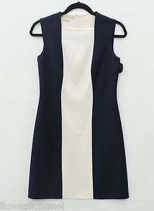 Michael Kors Collection Italy Navy And Ivory Knee Length Wool Dress