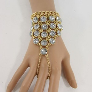 Other Women Gold Big Rhinestones Fashion Bracelet Metal Hand Chain Links Slave Ring