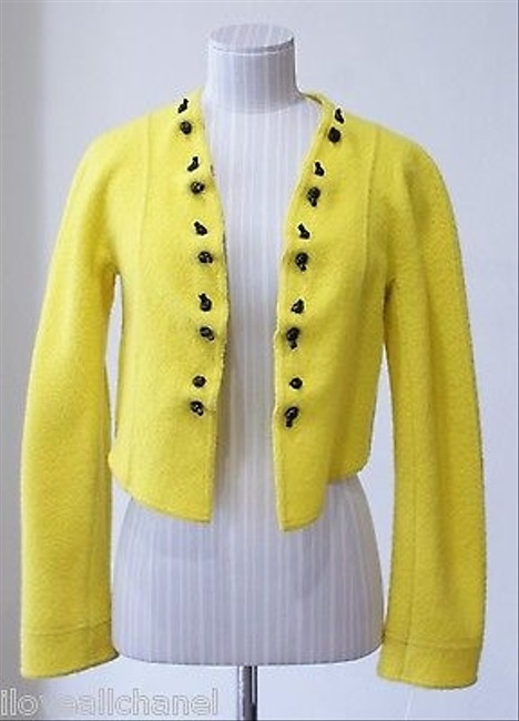 Giorgio Armani Black Label Chartreuseyellow Cropped Jacket Or lovely
