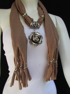 Women Fashion Soft Fabric L. Brown Scarf Long Necklace Big Metal Flower Pendant