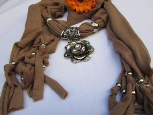 Other Women Fabric Brown Scarf Long Necklace Big Metal Flower Pendant