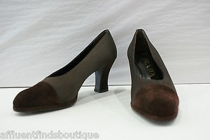 Prada Satin Suede Or Brown Pumps