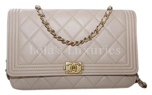 47413ef9ac6e Chanel Wallet on Chain Boy Quilted Classic Woc Mini Gold Hw Beige Leather  Cross Body Bag
