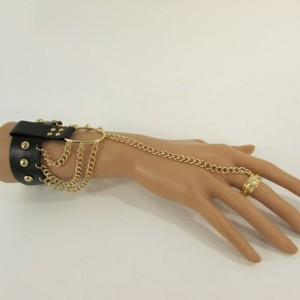 Other Women Gold Fashion Bracelet Black Faux Leather Metal Hand Chain Slave Cuff Ring