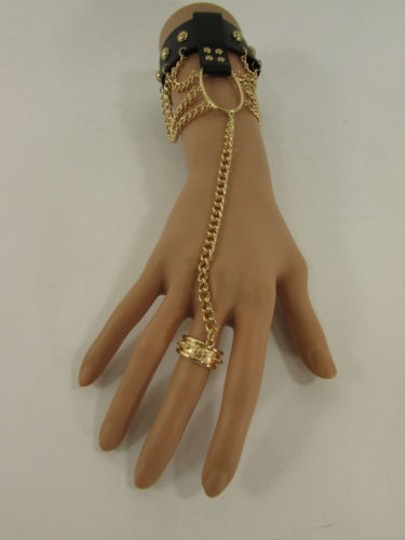 Other Women Gold Black Faux Leather Metal Hand Chain Slave Cuff Ring
