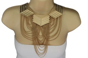 Women Gold Metal Choker Multi Strand Chunky Chains Long Fashion Necklace Set
