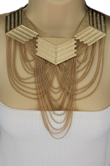 Other Women Gold Choker Multi Strand Chunky Chains Long Necklace Set